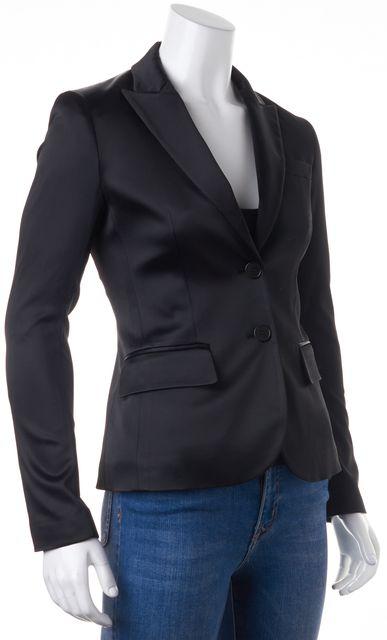 THEORY Black Satin Button Front Dress Blazer Jacket