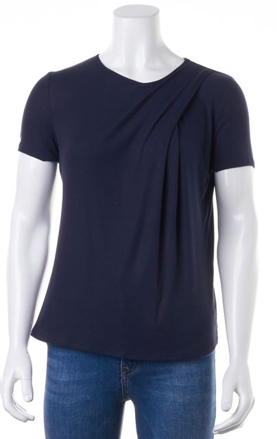 THEORY Navy Blue Trake Ribbed Knit Relaxed Fit T-Shirt