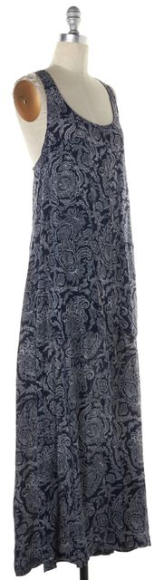 THEORY Navy Blue White Paisley Print Crepe Silk Button Up Maxi Dress