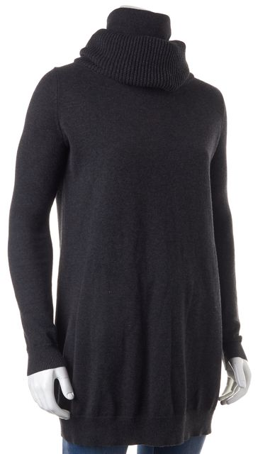THEORY Gray Cotton Cashmere Dacia Turtleneck Sweater