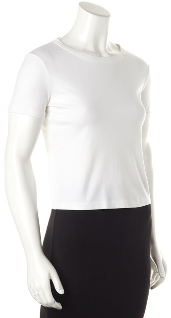 THEORY White Cotton Cropped Crew Short Sleeved Basic T-Shirt