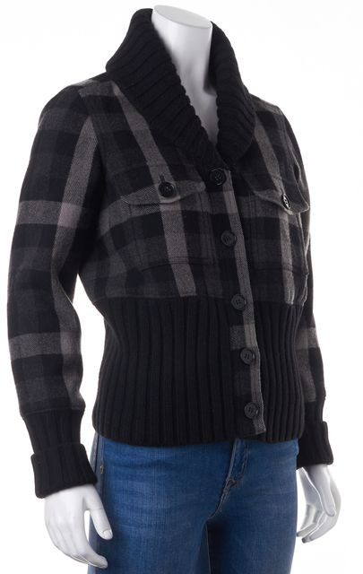 THEORY Black Grey Plaid Wool Basic Jacket