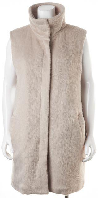 THEORY Beige Zip Front High Neck Visterna Vest Jacket