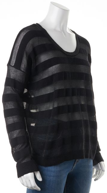 THEORY Black Striped Iana Cashmere Open Sheer Knit Top