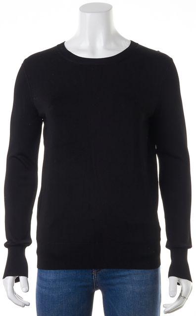 THEORY Black Hallree Leftbank Thin Knit Crewneck Top