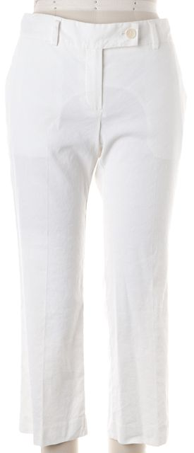 THEORY White Linen Pleated Cropped Casual Pants Pants