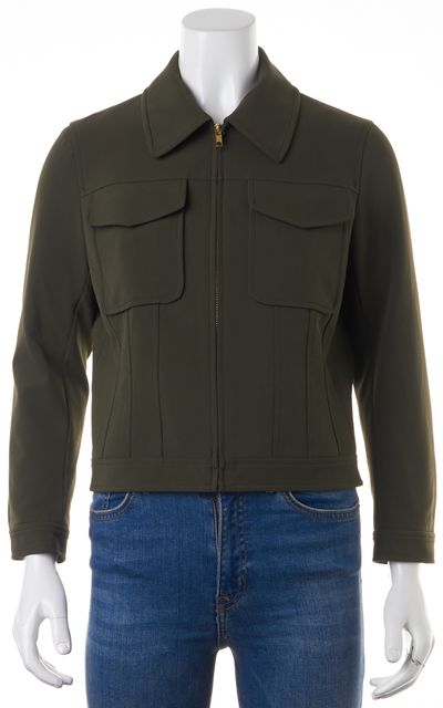 THEORY Olive Green Zip Front Two pocket Basic Jacket