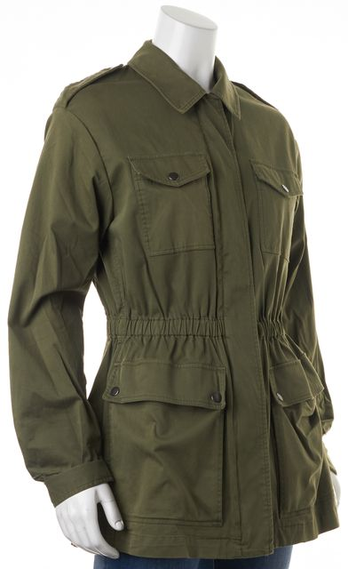 THEORY Green Stretch Cotton Levian Basic Utility Jacket