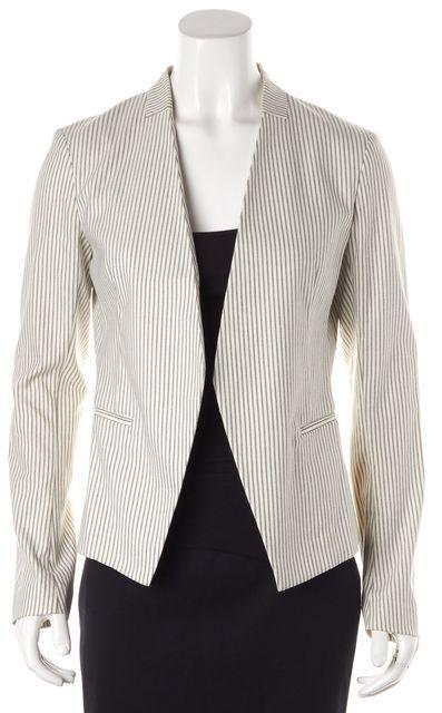 THEORY White Blue Striped Open Blazer Jacket