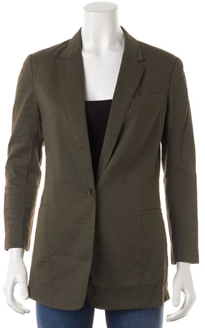 THEORY Dark Green Linen Single Button Lousine Blazer