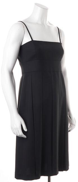 THEORY Black Wool Racquel Pleated Spaghetti Strap Empire Waist Dress