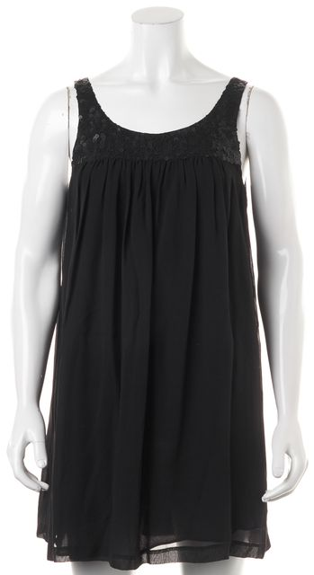 THEORY Black Silk Arleigh Sequin Relaxed Fit Sleeveless Shift Dress
