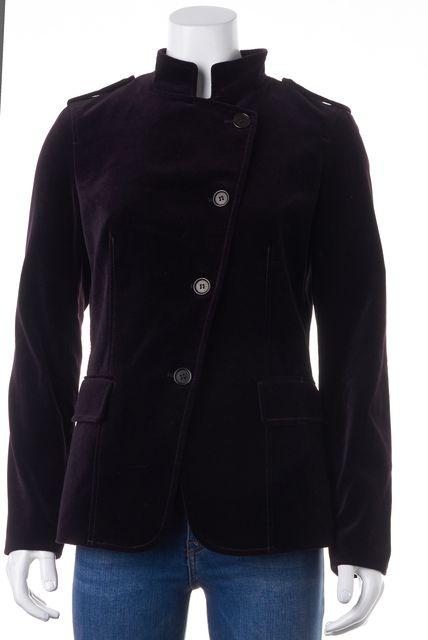 THEORY Purple Velvet Button Front Basic Jacket