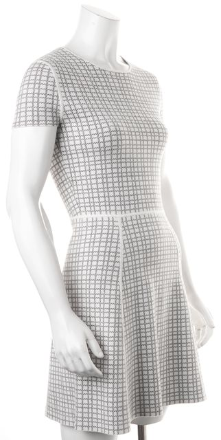 THEORY White Grey Plaid Fit & Flare Short Sleeve Dress