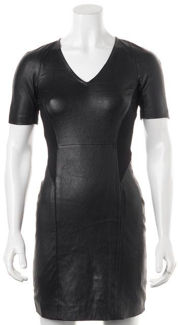 THEORY Black Lamb Leather Serto L Short Sleeve Sheath Dress
