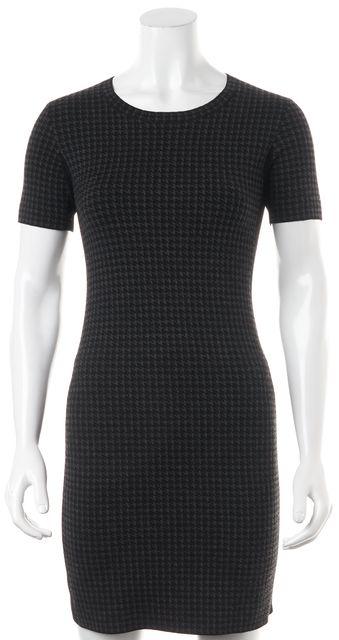 THEORY Gray Houndstooth Short Sleeve Wool Sheath Dress