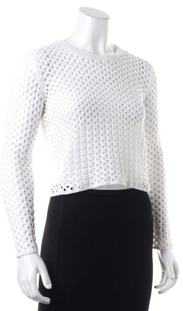 THEORY White Krezia Memorize Perforated Open Knit Cropped Blouse Top