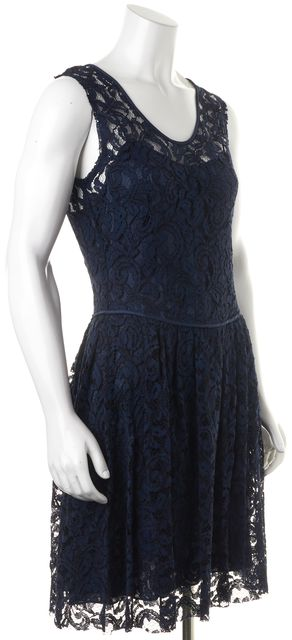 THEORY Blue Sid Lace Overlay Pleated Sleeveless Fit & Flare Dress