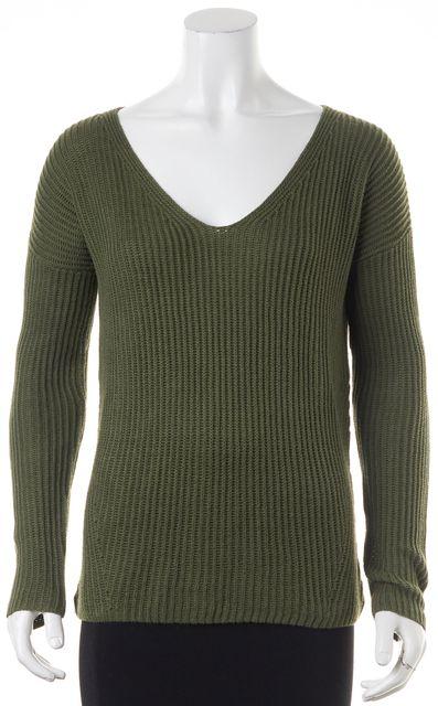 THEORY Hunter Green Linen V-Neck Sweater