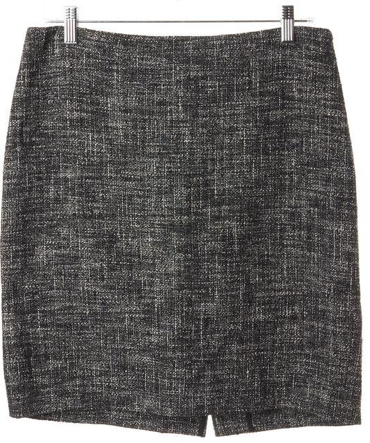 THEORY Black White Grey Tweed Frieda C Above Knee Straight Skirt