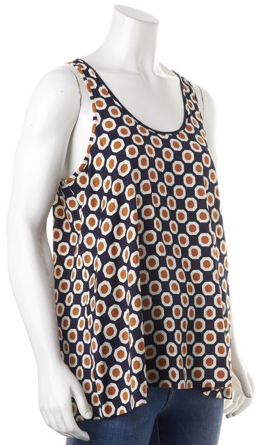 THEORY Navy Blue Tan Ivory Geometric Print Silk Sleeveless Blouse Top