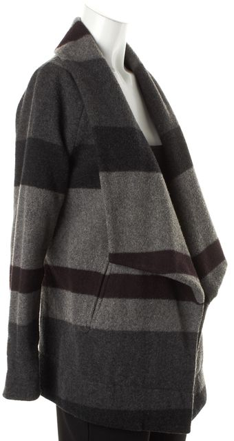 THEORY Gray Purple Striped Wool Clarania Open Basic Coat