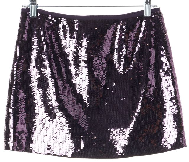 THEORY Lavender Purple Bedazzling Sequin Mini Skirt
