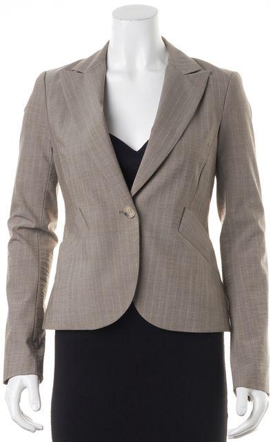 THEORY Brown Beige Lavender Striped Wool One Button Blazer Jacket