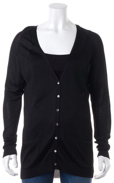 THEORY Black Henry Flux Sheer Knit Relaxed Fit Cardigan Sweater