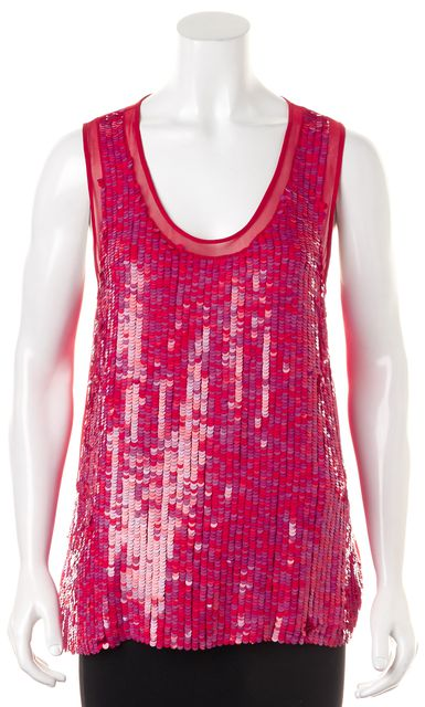 THEORY Red Sleeveless Sequin Blouse