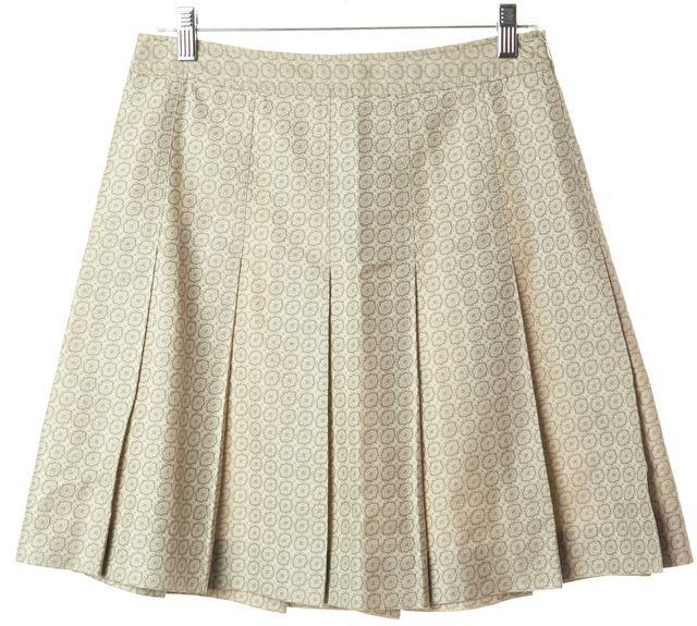 THEORY Beige Geometric Pleated Above Knee A-Line Skirt