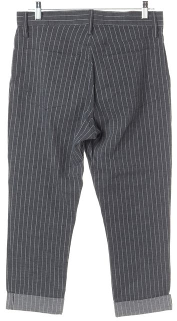 THEORY Gray White Pinstriped Andria Linen Jordin W Cropped Pants