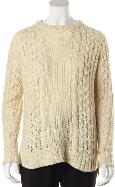 THEORY Ivory Alpaca Innis Aria Crewneck Cable Knit Sweater