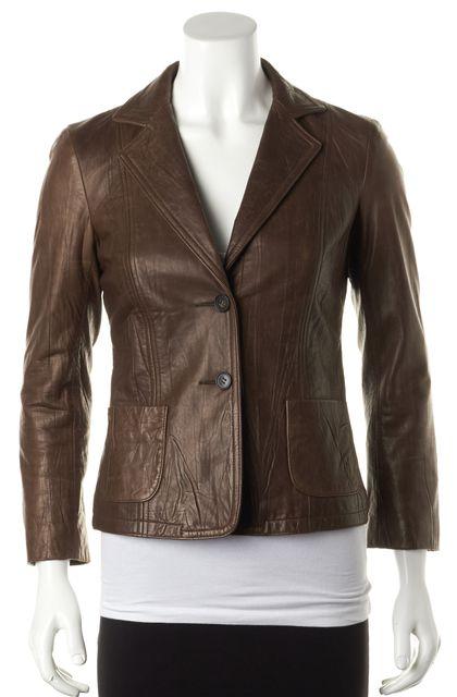 THEORY Brown Leather Esmeralda L Two Button Basic Blazer Jacket