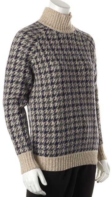 THEORY Blue Beige Plaid Wool Astral P Loryelle Mock Neck Sweater