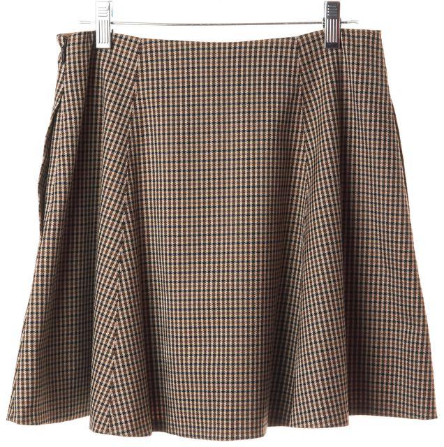 THEORY Brown Wool Geometric A-Line Mini Skirt