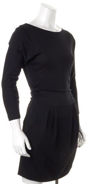 THEORY Black Long Sleeve Above Knee Wool Blouson Dress