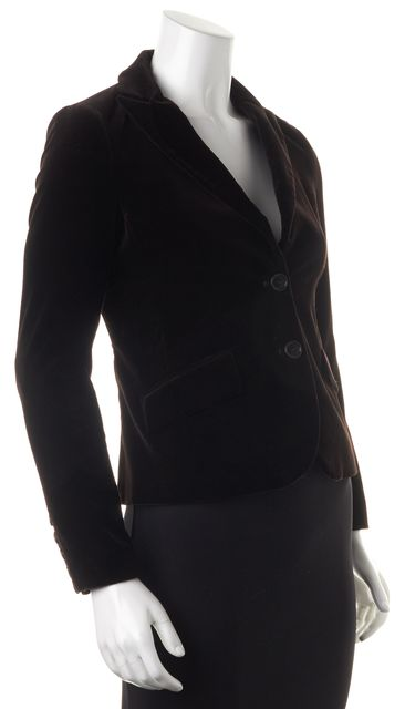 THEORY Brown Velvet Double Button Pocket Front Blazer