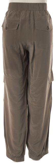 THEORY Olive Green Summer Silk Hamtana Relaxed Cargo Pants