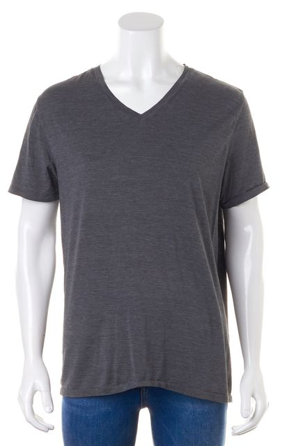 THEORY Medium Gray Silk Blend Short Sleeved Basic Tee T-Shirt