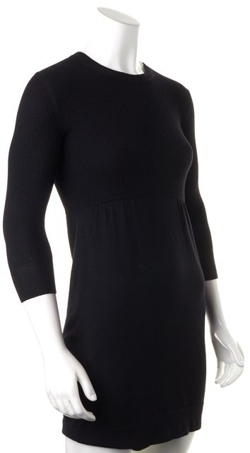 THEORY Black Wool Ribbed Knit 3/4 Sleeve Full Back Zip Sheath Sweater Dress