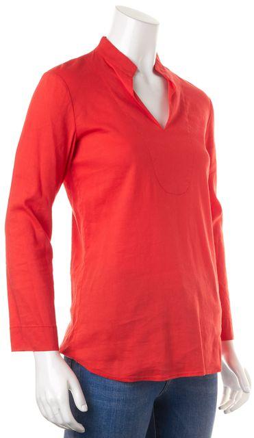THEORY Orange Linen V-Neck Long Sleeve Ottavia Blouse