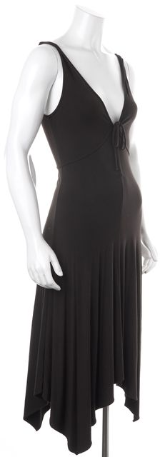THEORY Brown Sleeveless Rayon Blend Front Tied Maxi Dress