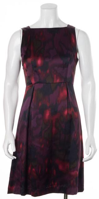 THEORY Purple Abstract Silk Sleeveless Vague Sheath Dress