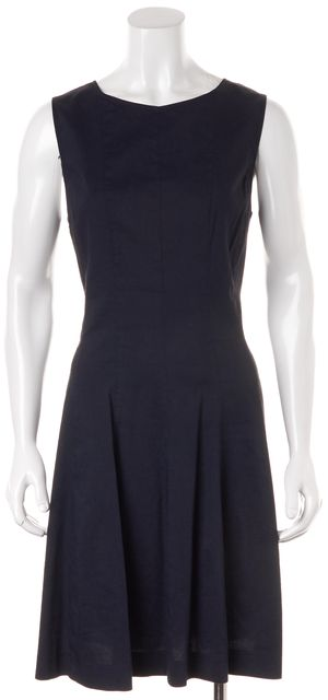 THEORY Deep Navy Linen Sleeveless Knee-Length Sheath Dress