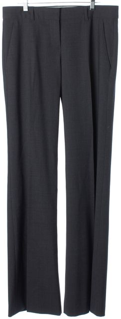 THEORY Dark Gray Wool Blend Wide Legged Pleated Dress Pants