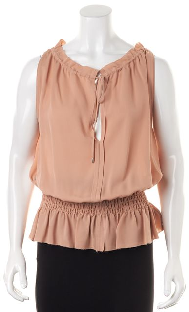 THEORY Pink Pale Rose Silk Classic Georgette Keyhole Dezzie Blouse