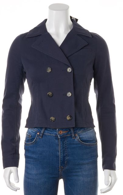 THEORY Navy Blue Stretch Cotton Double Breasted Chante Jacket