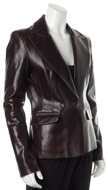 THEORY Wine Red Leather Single Button Pocket Front Blazer