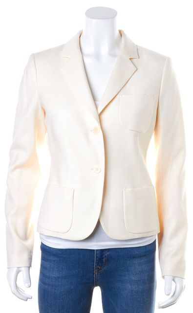 THEORY Ivory Two Button Pocket Front Blazer Jacket